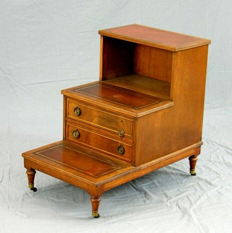 """898: Carved Mahogany Leather """"Bed Steps"""" Table, 20th c."""