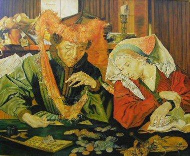 """900: After Quentin Metsys (1466-1530), """"Money-Lender an"""