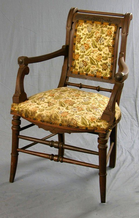 903: American Victorian Carved Walnut Armchair, c. 1870