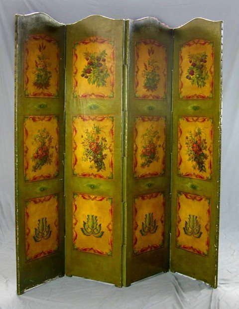 906: Leather Four Panel Dressing Screen 19th c., each a
