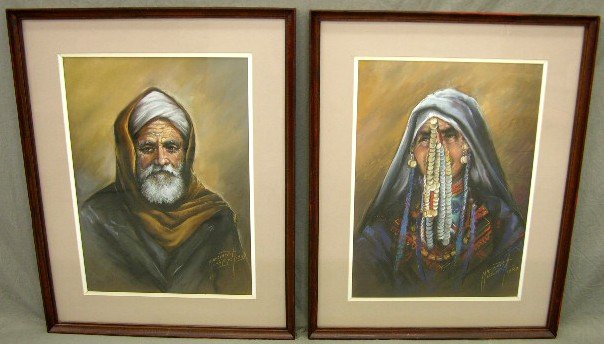 """907: Mansour, """"Egyptian Tribesman and Woman,"""" 1987, pai"""