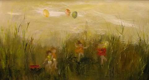 """909: Kritcher, """"Children at Play,"""" mid 20th c., oil on"""