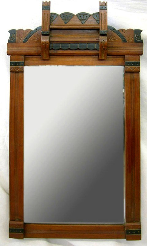 911: Amereican Aesthetic Walnut Mirror, c. 1880, with i