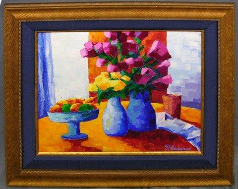"912: F. Ladeveze, ""Deux Bouquets,"" 20th c., oil on canv"