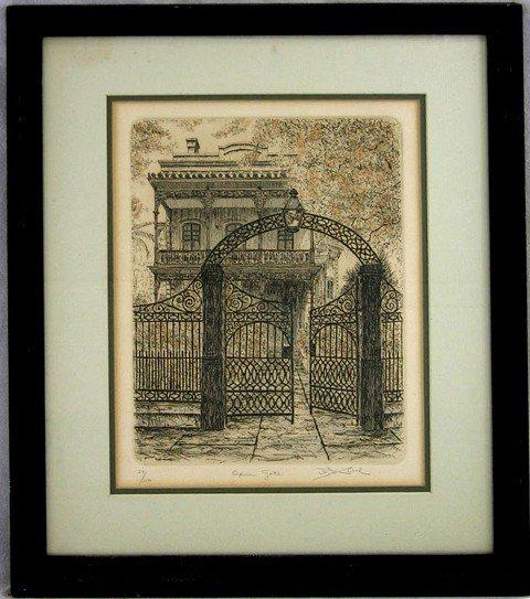"""915: David Abel, """"Open Gate,"""" 20th c., etching, 59/150,"""