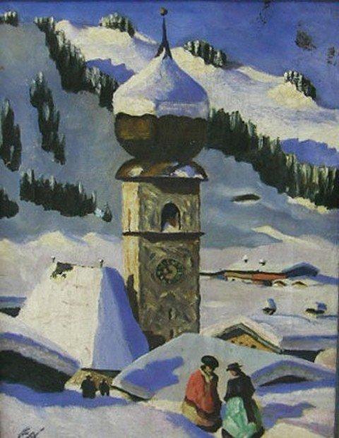 """916: Russian School, """"Winter Snow Scene,"""" 20th c., oil"""