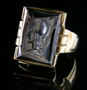 Man's 10K Yellow Gold Signet Ring, 20th C., With A