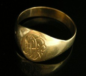 14K Yellow Gold Engraved Initial Ring, Early 20th