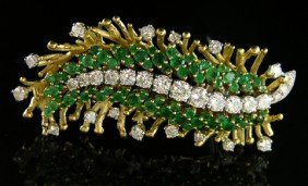 Unusual 18K White Gold Leaf Form Brooch, With A Ce