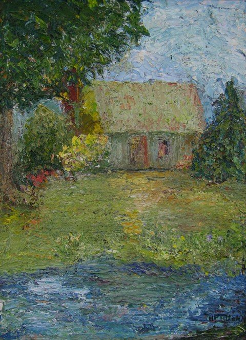 """970: American School, """"Cottage with Spring Flowers,"""" 20"""