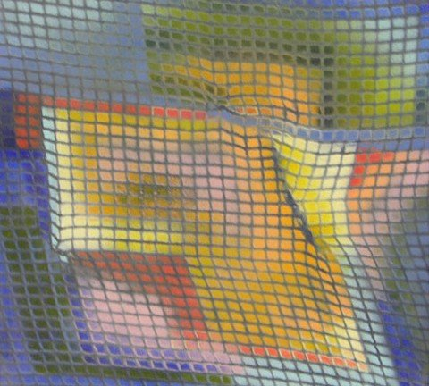 """985: Continental School, """"Abstract Grid,"""" oil on canvas"""