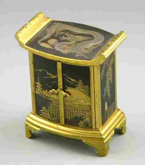 1105: Miniature Oriental Bronze Niello Work Cabinet, ea