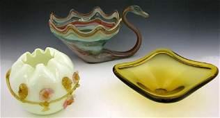 1164 Three Pieces of Art Glass 20th c Amber Art Gla