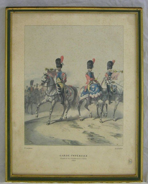 """1: """"Garde Imperiale,"""" 20th c., colored print, framed, H"""