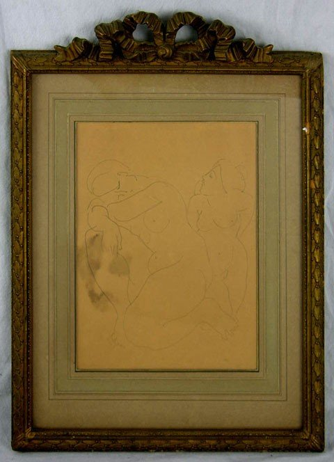 """6: American School, """"Study of Two Nudes,"""" early 20th c."""