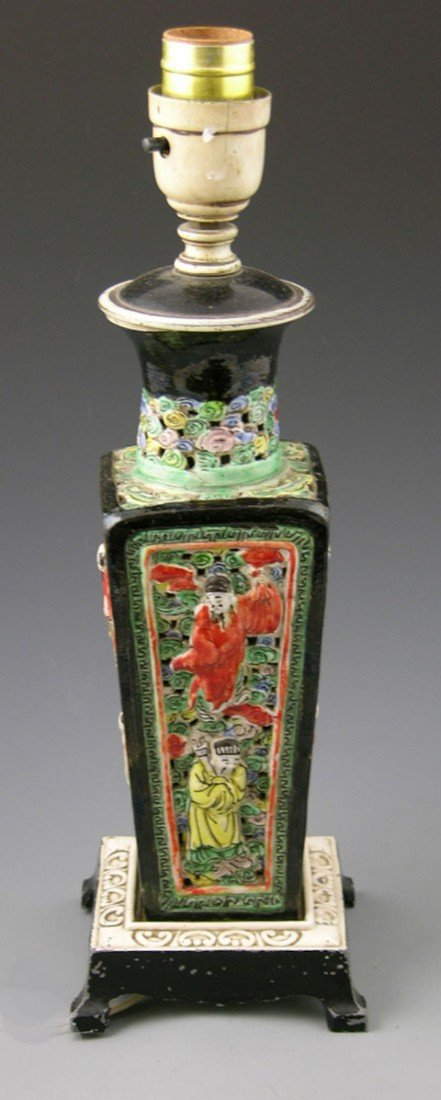 9: Oriental Style Tapered Porcelain Lamp, early 20th c.
