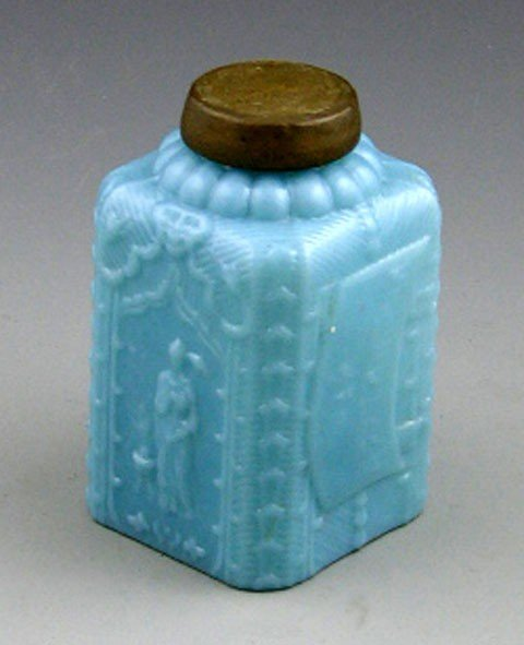 13: Russian Mold Blown Blue Opaline Glass Tea Caddy, c.