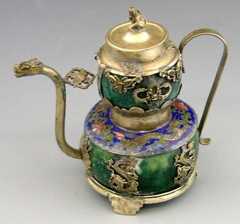15: Diminutive Oriental Silver and Green Marble tea Pot