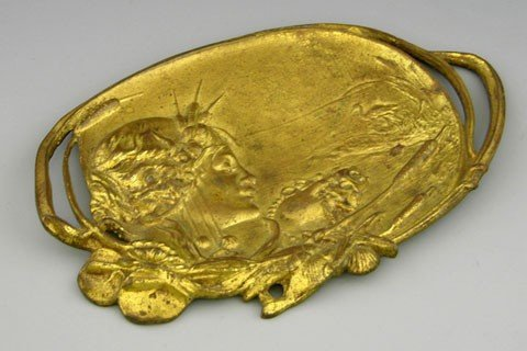 19: Art Nouveau Gilt Brass Card Tray, c. 1880, with rel