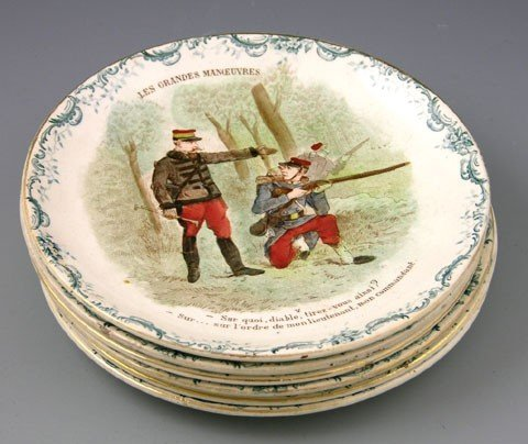 21: Set of Six French Ceramic Plates, 19th c., depictin
