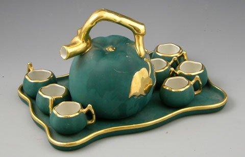 23: Green Porcelain Coffee Set, 20th c., by F. D., cons