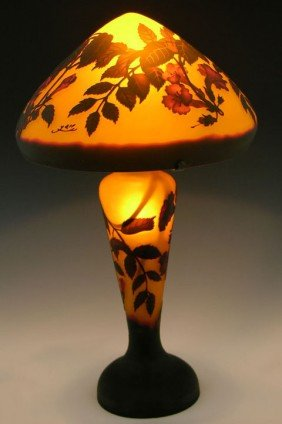 1: Galle Style Cameo Glass Lamp, late 20th c., with rel