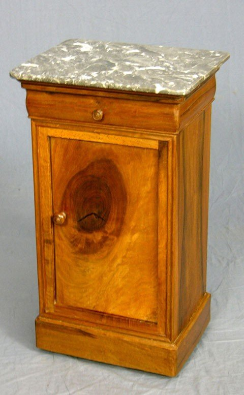 3: Louis Philippe Carved Walnut Night Stand, c. 1850, t
