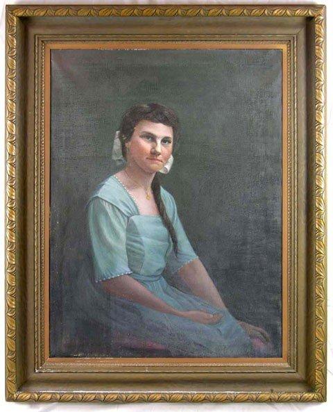 """5: M. F. Weaver, """"Portrait of a Woman in a Blue Dress,"""""""