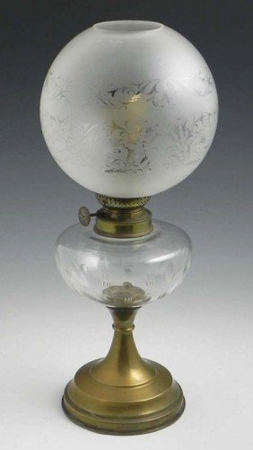 6: Brass and Glass Oil Lamp, 19th c., the cut glass fon
