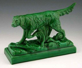 7: Green Glazed Earthenware Figure of an English Setter