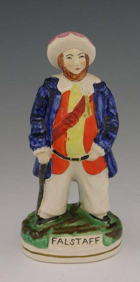 12: Polychromed Staffordshire Figure, 19th c., of Falst