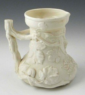 13: Copeland Salt Glaze Pitcher, c. 1880, with relief g