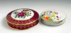 17: Two Limoges Porcelain Circular Covered Dresser Boxe