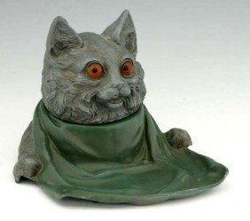 20: Unusual Whimsical Painted Spelter Inkwell, c. 1900,
