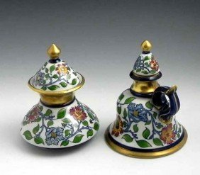 21: Two Pieces of Portuguese Majolica, 20th c., a handl