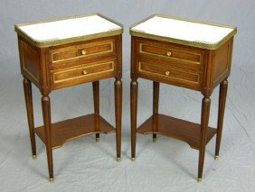 23: Pair of Ormolu Mounted Louis XVI Style Carved Mahog