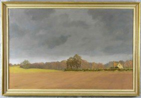 "24: J. G. Connal, ""English Farm Scene,"" 20th c., oil on"