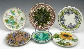 38 Group of Six Majolica Plates 19th c with relief
