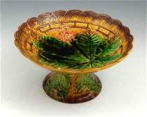 105 Majolica Compote 19th c by Villeroy and Boch w