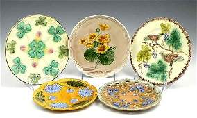 109 Group of Five Majolica Plates 19th c with relief