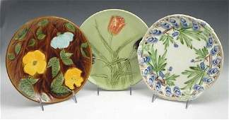 113 Group of Three Majolica Plates 19th and 20th c