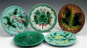 118 Group of Five Majolica Plates 19th c with relie
