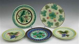 261 Group of Five Majolica Plates 19th c with relie