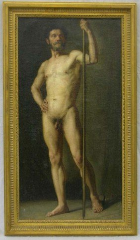 "533: French School, ""Classical Nude Study,"" 19th c., oi"