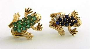 569 Pair of 14K Yellow Gold Frog Brooches one with di