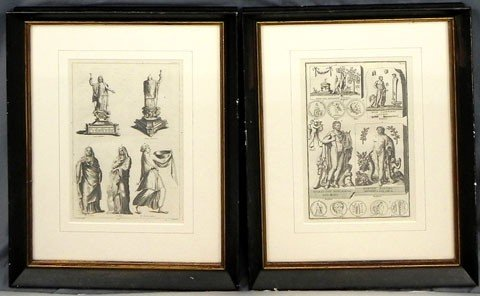 1: Pair of Black and White Prints of Classical Figures,