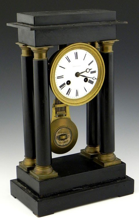 6: French Ebonized Portico Clock, 19th c., by Leroy a P