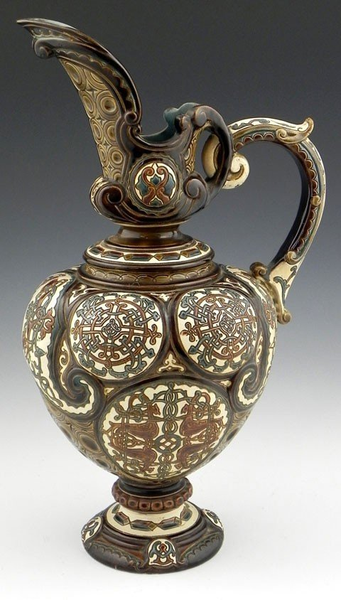 7: Continental Footed Majolica Ewer, 19th c., of bulbou