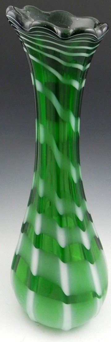 9: Tall Green Murano Glass Vase, mid 20th c., with a sc