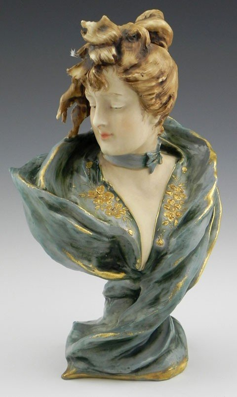 11: Turn Teplitz Art Nouveau Pottery Bust, c. 1910, of